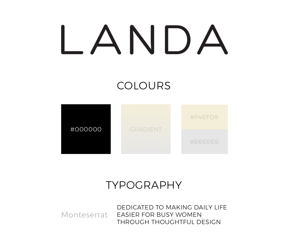landa bags web design by webbiz grapich showing the colours and fonts used for the landa logo and typography